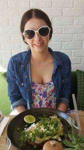Loving her egg-free breakfast