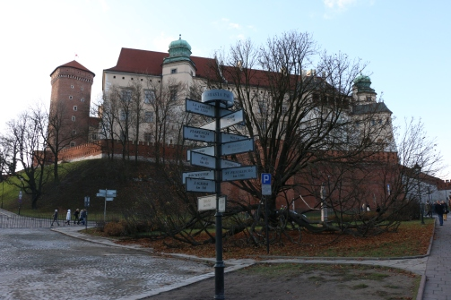Wawel Castle and a street sign